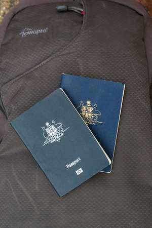 The Hague, the Netherlands - December 12 2018: Australian passports placed ready on top of travel bag