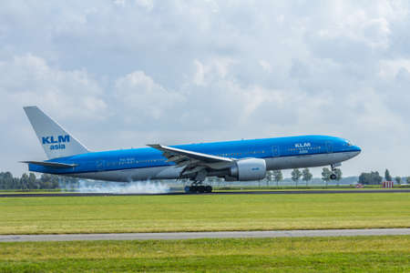 Schiphol Airport, the Netherlands - August 20, 2016: KLM boeing 777 landing Editorial