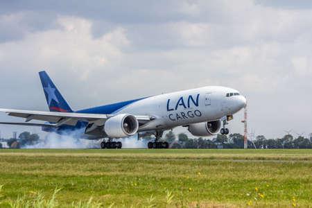 Schiphol Airport, the Netherlands - August 20, 2016: Lan Cargo jet landing Editorial