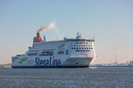 Hoek van Holland, the Netherlands - January 20 2019: car passenger ferry ship Stena Line sailing out of port Rotterdam past Hoek van Holland