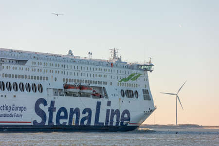 Hoek van Holland, the Netherlands - January 20 2019: car passenger ferry ship Stena Line sailing out of port Rotterdam past Hoek van Holland