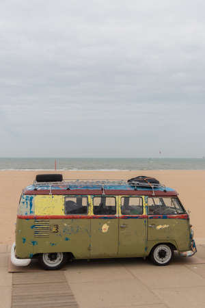 Scheveningen, The Hague, the Netherlands - 1960s style VW Transporter  Kombi T2 parked at Scheveningen beach