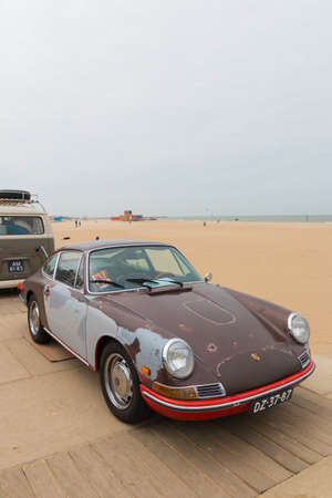 The Hague, the Netherlands - May 26 2019: classic Porsche model 912 with rat look parked at the air cooled motor show at Scheveningen
