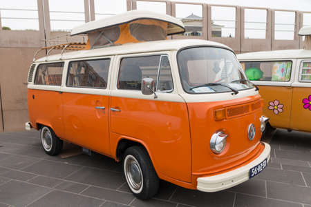 Scheveningen, The Hague, the Netherlands - May 26 2019: 1960s style VW Transporter camper Kombi parked at Scheveningen beach