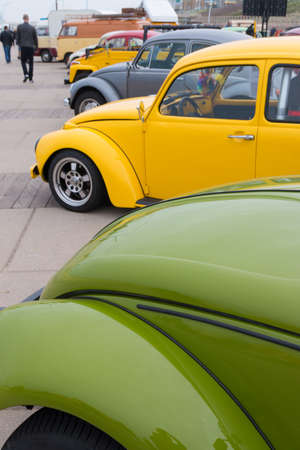 Scheveningen, The Hague, the Netherlands - May 26 2019: classic VW beetles parked at VW aircooled car show at Scheveningen beach