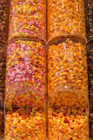 The Hague, the Netherlands - June 6 2019: candy store in The Hague with wrapped sweets and toffees in glass jars Editorial
