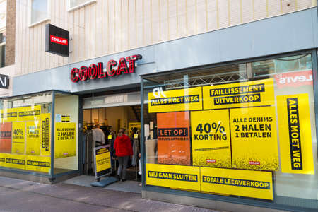 The Hague, the Netherlands - June 6 2019: retail store coolcat during closing down banckrupcty sell out sale Editorial