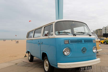 Scheveningen, The Hague, the Netherlands - May 26 2019: 1960s  VW Kombis parked at Scheveningen beach during aircooled classic vw car show
