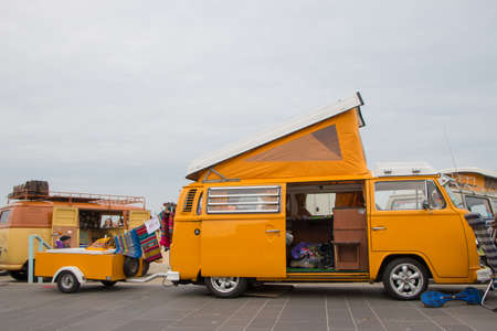 Scheveningen, The Hague, the Netherlands - May 26 2019: 1960s style VW classic combi with trailer parked at Scheveningen beach during aircooled motor show Editorial