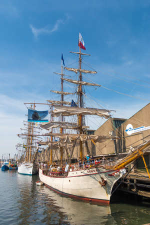 Scheveningen harbor, the Netherlands - June 23 2019: Scheveningen harbour with tall ship Europa during sail event of visit from tall ships Editorial