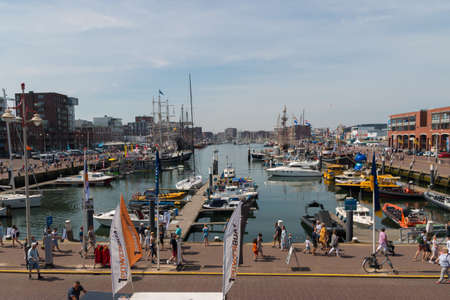 Scheveningen harbor, the Netherlands - June 23 2019: Scheveningen harbour during sail event of visit from tall ships