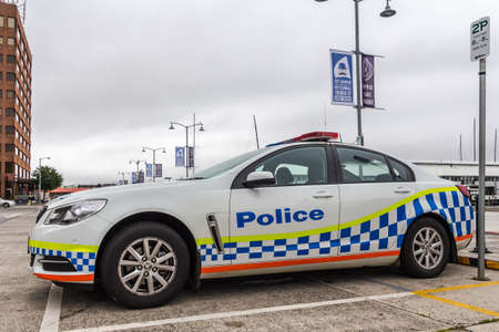 Constitution dock, Hobart, Australia - December 12 2019: Tasmanian police car parked on the street near Hobart CBD Editorial