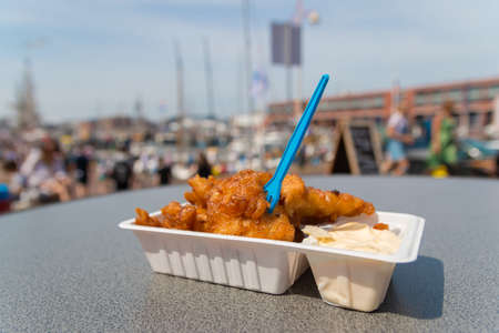 delicious fried kibbling fish and sauce at Scheveningen harbor cafe in the Netherlands on warm sunny day Imagens
