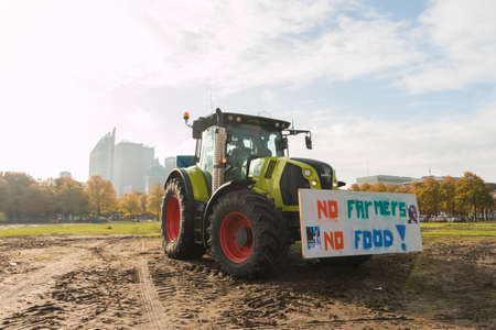 The Hague, the Netherlands -October 16 2019: mass farmer protest in The Hague against reducing of livestock numbers and stricter environmental laws on C02 and nitrogen emissions