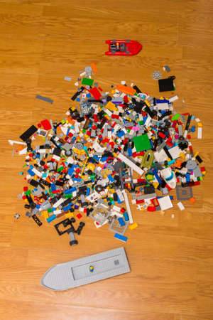child's lego pay toys simulating the plastic soup in the earth's seas and oceans