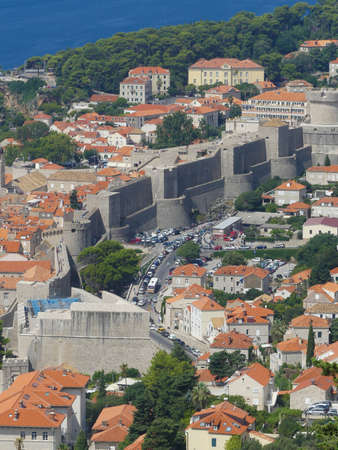 Dubrovnik, Croatia - August 3 2018: panoramic view of historic old town city wall of Dubrovnik