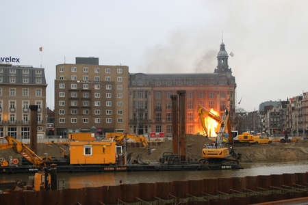 Amsterdam, the Netherlands - January 13 2020: Gas fire breaks out near Amsterdam hotels opposite central Station