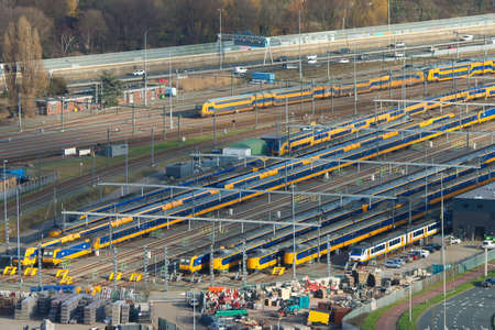 The Hague, the netherlands - February 2 2020: Dutch trains assembled at a depot