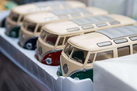 Scheveningen, The Hague, the Netherlands - 1960s style VW Transporter  Kombis T2 toy cars models 新聞圖片