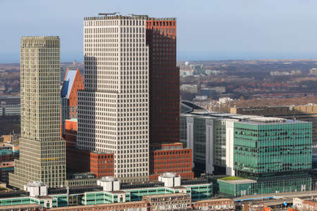 The Hague, the Netherlands - February 6 2020: tall buildings of The Hague city skyline on sunny day 新聞圖片