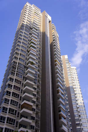 block of flats: Tall twin apartment buildings in residential settlement