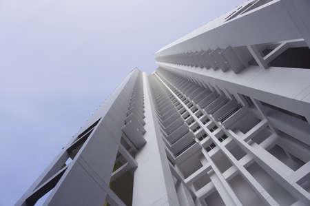 residential settlement: big white apartment buildings in residential settlement