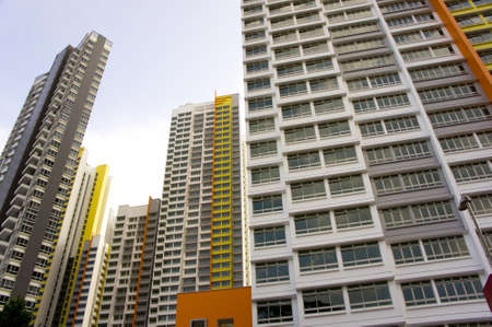 high rise buildings: Big colorful apartment buildings in residential settlement  Editorial
