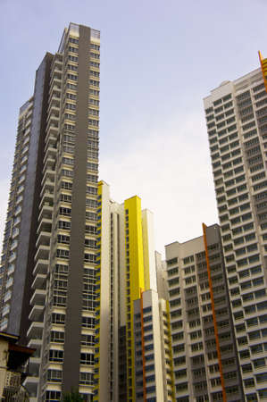 neighbourhood: Big colorful apartment buildings in residential settlement  Editorial