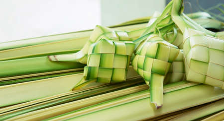 rice cake: Ketupat: South East Asian rice cakes bundle, often prepared for festivities and celebratory occasions.