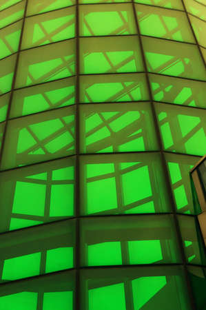 A structure builded by green glass panel                     photo