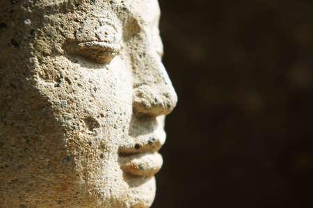 mindfulness: Side profiel close-up van Boeddha gezicht Stockfoto