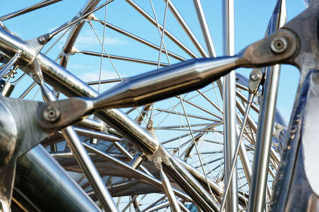 complicated: Spiral metallic structure with sky background