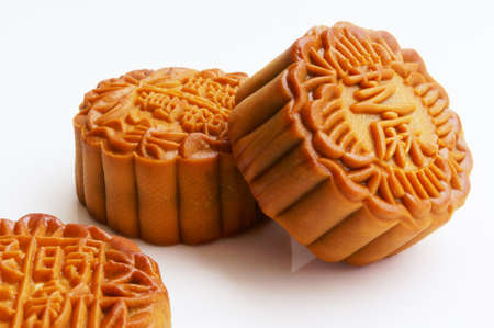moon cake festival: Three delicous moon cakes with white background