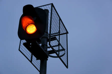 A Railway traffic lights against sky background           Stock Photo - 10912094