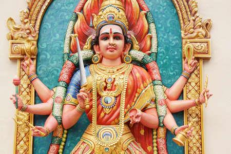 Hindu Goddess Durga direct close up shot