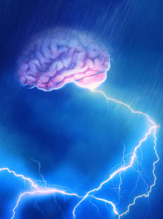 A Brain caught in the storm giving off lightning Stock Photo