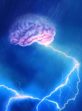 Ein Gehirn im Sturm abgibt Blitz erwischt
