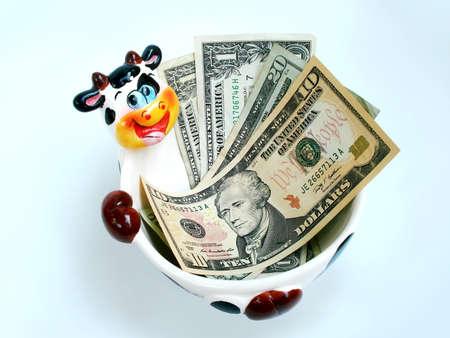 A ceramic cow bowl holding USA dollars.           photo