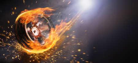 A spinning wheel dash forward on fire