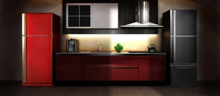 black appliances: A show room kitchen with light source from door