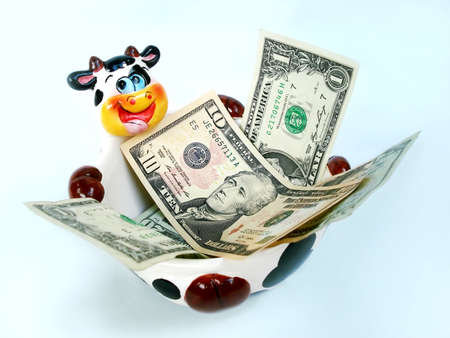 futures: Ceramic Cow bowl contain cash in a mess                                Stock Photo