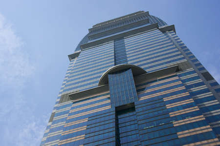 commercial activity: Low angle shot of a mega blue towers