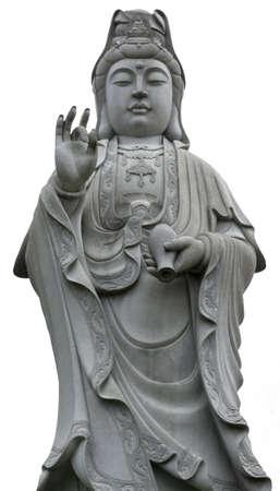 Isolated stone statue of Guanshiyin, Goddess of mercy Stock Photo - 11134596