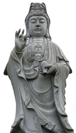Isolated stone statue of Guanshiyin, Goddess of mercy Stock Photo - 11134596