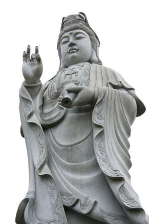 Isolated stone statue of Guanshiyin, Goddess of mercy Stock Photo - 11134597