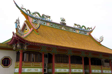 Side view of a Chinese temple with roof decorate, Asia  Stock Photo - 11117306