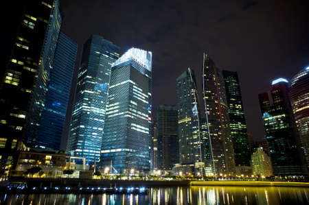 A generic city night view at water bayfront photo