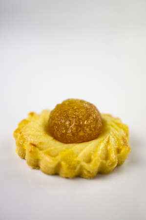 One Chinese festive Pineapple biscuit on white background photo