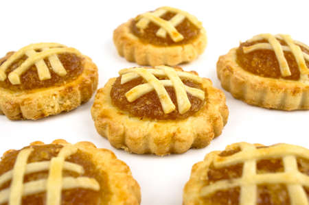 traditional goods: Chinese festive Pineapple tarts on white background Stock Photo