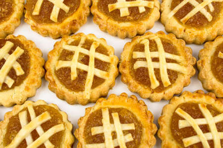 chinese new year food: Chinese festive Pineapple tart stact on white background Stock Photo